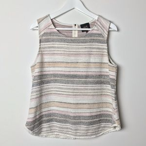 Anthropologie W5 Knit Stripe Tank Zipper Mauve L